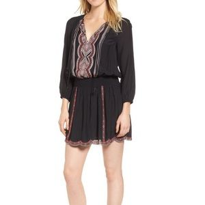 Embroidered Blouson Minidress